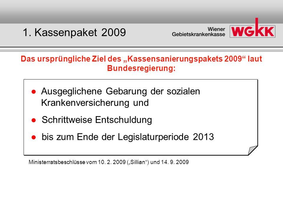 Das ursprüngliche Kassenpaket 2009 - Überblick Quelle: WGKK BundKassen 2009 2010 2011 2012 2013 Einmalhilfe 45 Mio.