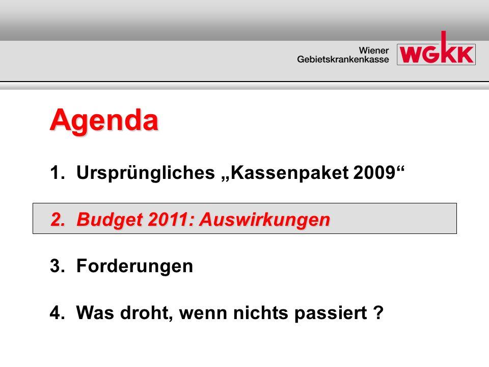 Agenda 1. Ursprüngliches Kassenpaket 2009 2. Budget 2011: Auswirkungen 3. Forderungen 4. Was droht, wenn nichts passiert ?