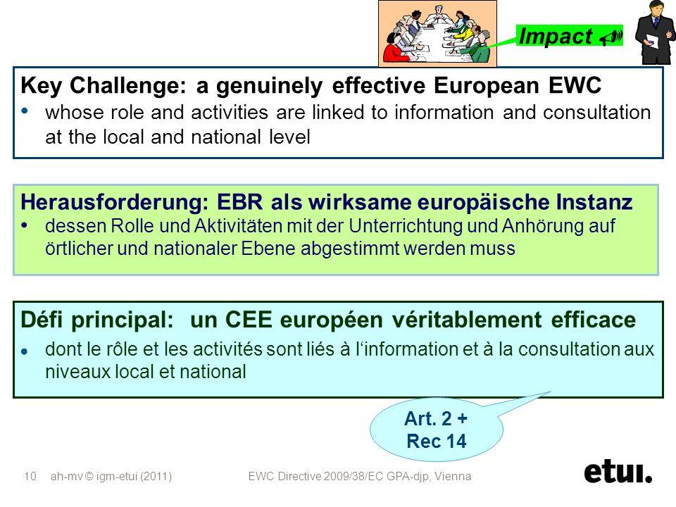 ah-mv © igm-etui (2011) EWC Directive 2009/38/EC GPA-djp, Vienna 10 Herausforderung: EBR als wirksame europäische Instanz dessen Rolle und Aktivitäten