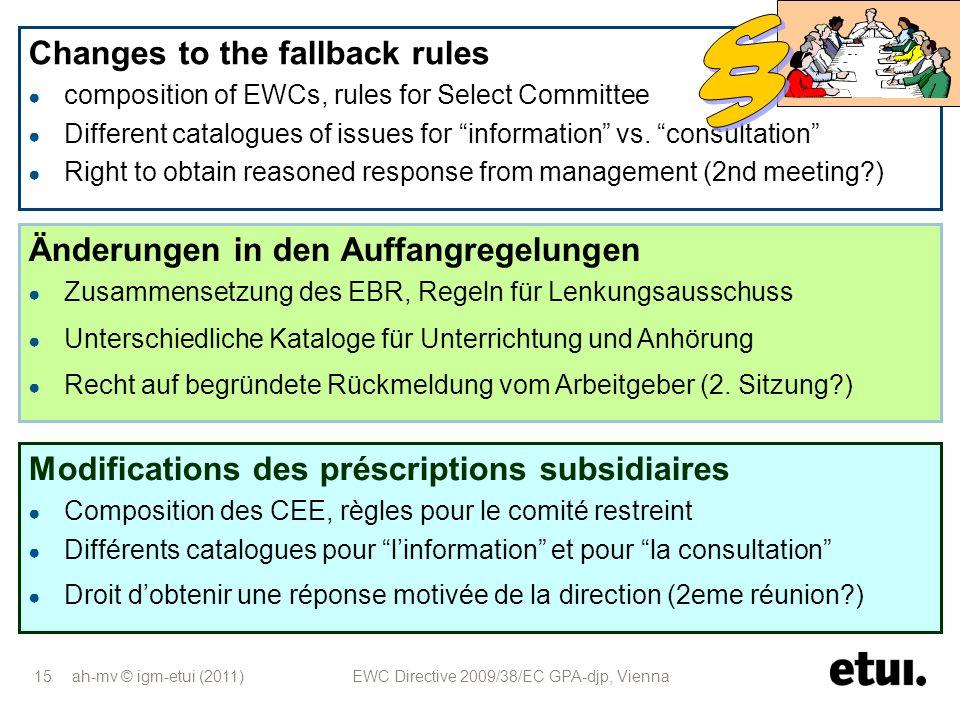 ah-mv © igm-etui (2011) EWC Directive 2009/38/EC GPA-djp, Vienna 15 Änderungen in den Auffangregelungen Zusammensetzung des EBR, Regeln für Lenkungsau