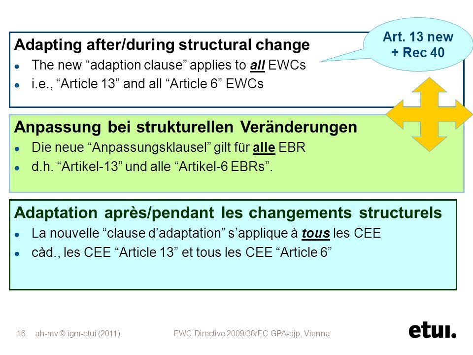 ah-mv © igm-etui (2011) EWC Directive 2009/38/EC GPA-djp, Vienna 16 Anpassung bei strukturellen Veränderungen Die neue Anpassungsklausel gilt für alle
