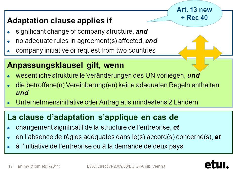 ah-mv © igm-etui (2011) EWC Directive 2009/38/EC GPA-djp, Vienna 17 Anpassungsklausel gilt, wenn wesentliche strukturelle Veränderungen des UN vorlieg