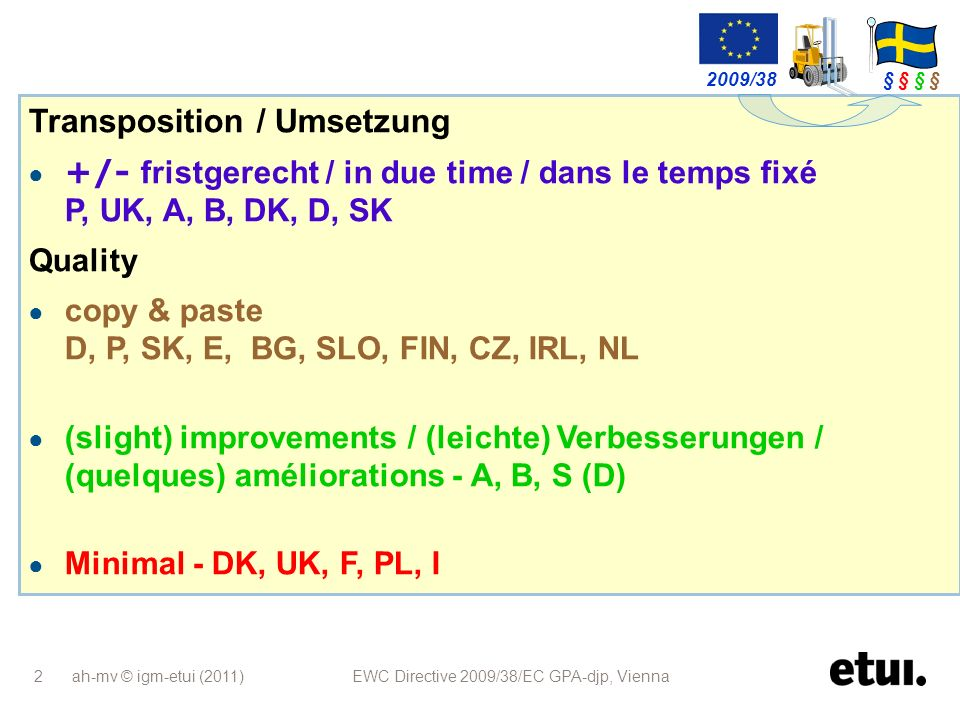 ah-mv © igm-etui (2011) EWC Directive 2009/38/EC GPA-djp, Vienna 23 Österreich Länderübergreifend: Wortlaut aus Präambel im Gesetzestext Definition Unterrichtung & Anhörung gilt für alle EBRs (auch Art 13…) Nachbereitende Sitzung: für gesetzlichen EBR (Subsidiäre Vorschriften) Sanktionen verschärft Austria Transnational: wording of preamble became law; definition information & consultation applies to all EWCs (incl art 13...); post-meeting: for statutory EWC (subsidiary requirements) stronger sanctions lAutriche Transnational: les termes du préambule transcrit dans la loi; La définition information & consultation sapplique à tous les CEE (y compris ceux de lArt 13…) Réunion après la Consultation: pour les CEE (conditions subsidiaires) Sanctions plus strictes