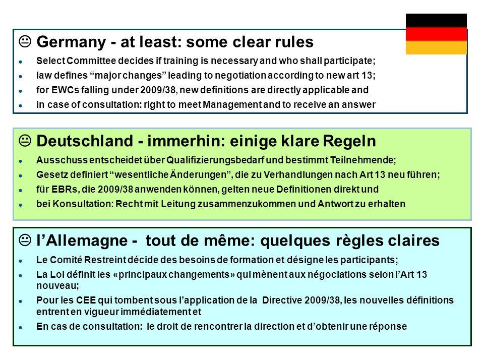 ah-mv © igm-etui (2011) EWC Directive 2009/38/EC GPA-djp, Vienna 22 Deutschland - immerhin: einige klare Regeln Ausschuss entscheidet über Qualifizier