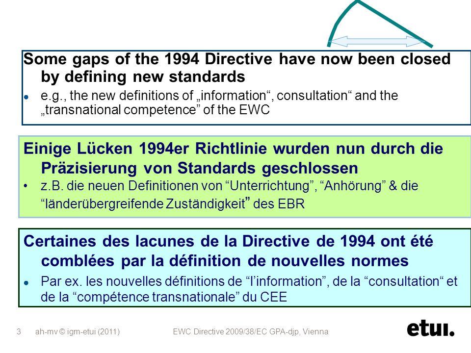 ah-mv © igm-etui (2011) EWC Directive 2009/38/EC GPA-djp, Vienna 14 Neuer Qualifizierungsanspruch: EBR- und BVG-Mitglieder erhalten erforderliche Schulungen ohne Lohn- bzw.