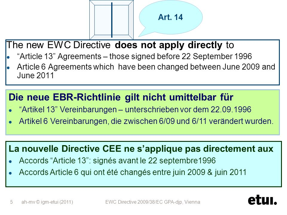 ah-mv © igm-etui (2011) EWC Directive 2009/38/EC GPA-djp, Vienna 5 The new EWC Directive does not apply directly to Article 13 Agreements – those sign