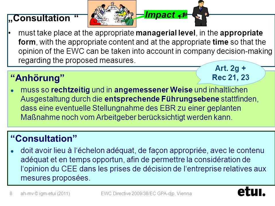 ah-mv © igm-etui (2011) EWC Directive 2009/38/EC GPA-djp, Vienna 8 Consultation must take place at the appropriate managerial level, in the appropriat