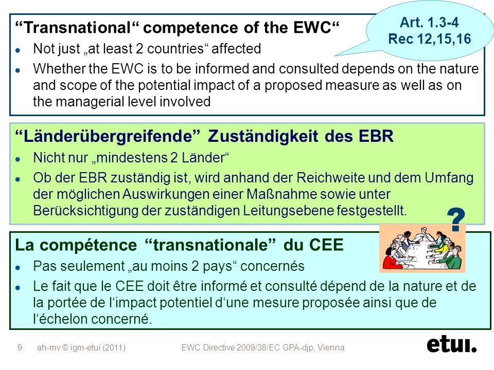 ah-mv © igm-etui (2011) EWC Directive 2009/38/EC GPA-djp, Vienna 20 Neue EBR-Richtlinie enthält wichtige Verbesserungen für die Arbeit vieler EBRs Obwohl die neue Richtlinie nicht grundsätzlich auf Artikel-13- Vereinbarungen angewendet werden kann, können diese EBRs politisch mit den neuen Standards arbeiten.