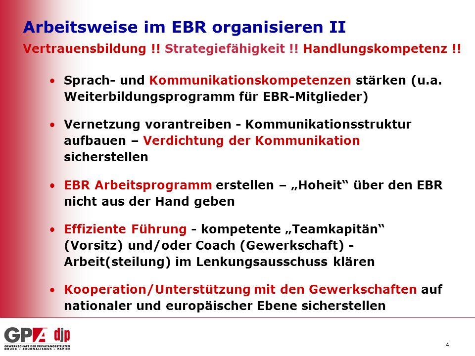 5 EBR-Arbeit optimieren – Einfluss gewinnen Blockadehaltung beim Management aufbrechen Lösungen für die Sprachenvielfalt und produktiven Umgang mit den kulturellen Unterschieden im EBR finden Zeitgerechte, hochwertige Information und echte Konsultation nachdrücklich (ggf auch gerichtlich) einfordern Den EBR wetterfest und handlungsfähig im Fall von Veränderungsprozessen im Konzern machen – entsprechende Prozesse mit der Unternehmensleitung vereinbaren Bestehende EBR-Vereinbarung an Hand der Praxis überprüfen und bei Notwendigkeit Nachbesserungen im Einvernehmen mit der Unternehmensleitung anstrengen – entlang gewerkschaftlicher Empfehlungen auf sicherem Pfad ab 5.