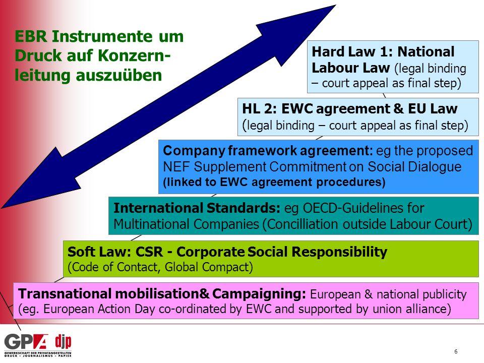 - bei der Etablierung von internationalen Kontakten - bei der Bereitstellung von Expertise und Information - bei Prozessbegleitung & Entwicklung der EBR Organisation - Beim Aufbau von Druck auf Konzernleitungen Gewerkschaften auf nationaler & europäischer Ebene sind ein starker Partner...