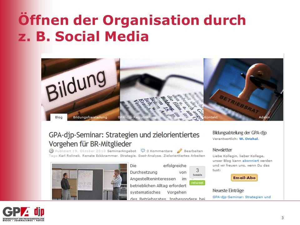 3 Öffnen der Organisation durch z. B. Social Media