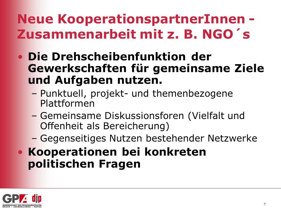 7 Neue KooperationspartnerInnen - Zusammenarbeit mit z. B. NGO´s Die Drehscheibenfunktion der Gewerkschaften für gemeinsame Ziele und Aufgaben nutzen.
