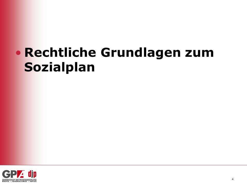 5 Das ArbVG kennt den Begriff Sozialplan nicht.Der Sozialplan ist eine Betriebsvereinbarung gem.