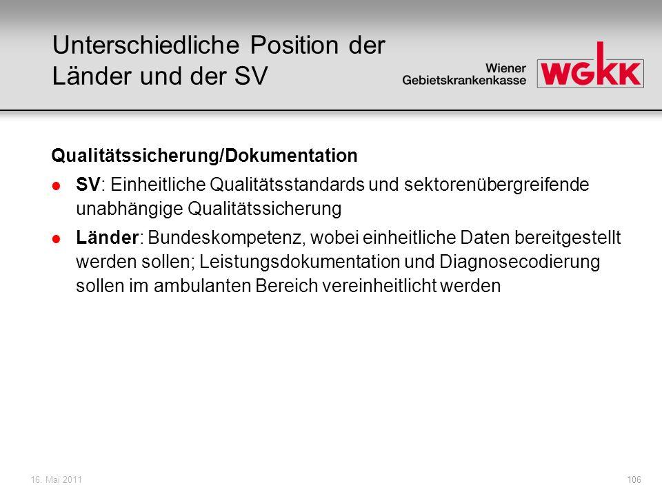 16. Mai 2011106 Unterschiedliche Position der Länder und der SV Qualitätssicherung/Dokumentation l SV: Einheitliche Qualitätsstandards und sektorenübe