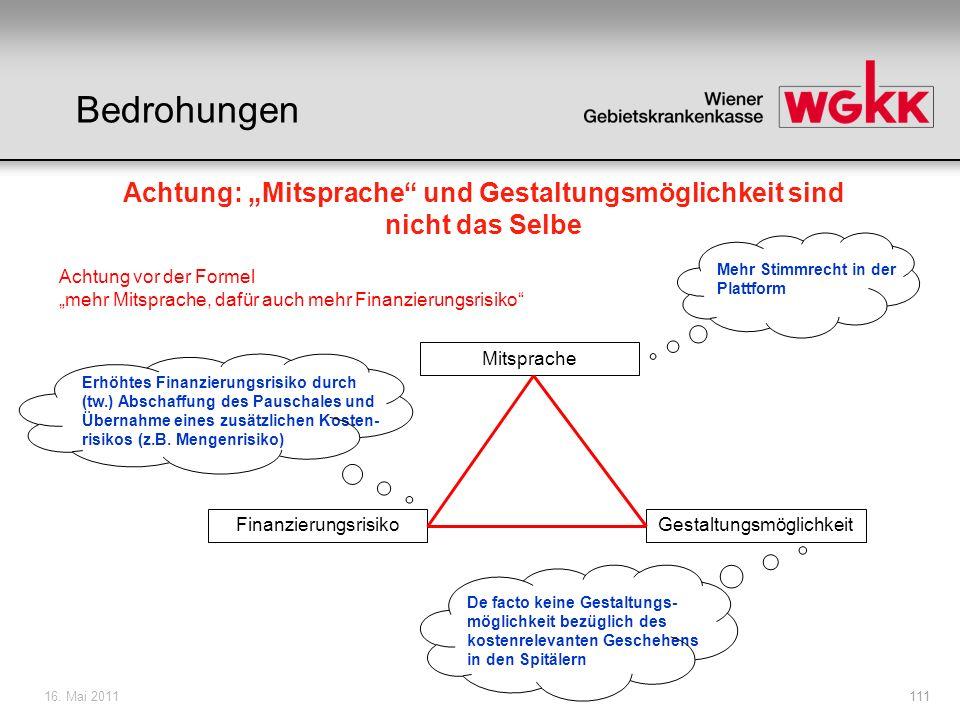 16. Mai 2011111 Finanzierungsrisiko Mitsprache Gestaltungsmöglichkeit Mehr Stimmrecht in der Plattform De facto keine Gestaltungs- möglichkeit bezügli