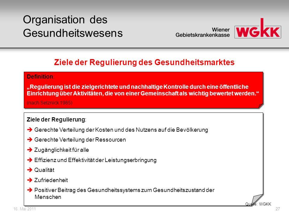 16. Mai 201127 Ziele der Regulierung des Gesundheitsmarktes Definition: Regulierung ist die zielgerichtete und nachhaltige Kontrolle durch eine öffent
