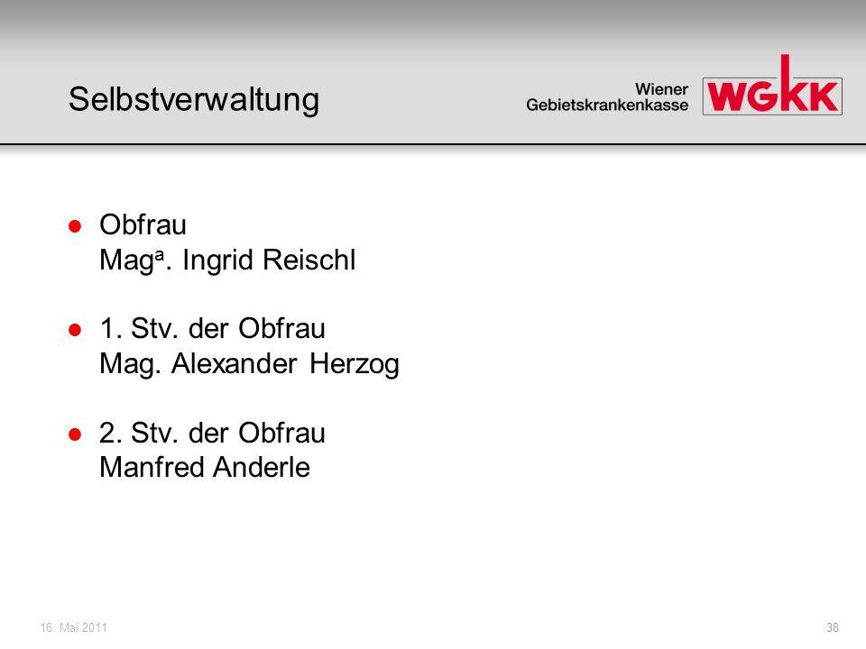 16. Mai 201138 Selbstverwaltung l Obfrau Mag a. Ingrid Reischl l 1. Stv. der Obfrau Mag. Alexander Herzog l 2. Stv. der Obfrau Manfred Anderle