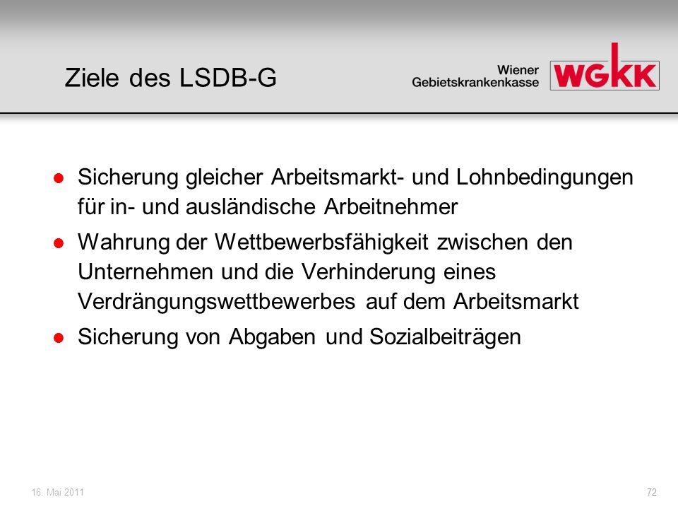 16. Mai 201172 Ziele des LSDB-G l Sicherung gleicher Arbeitsmarkt- und Lohnbedingungen für in- und ausländische Arbeitnehmer l Wahrung der Wettbewerbs