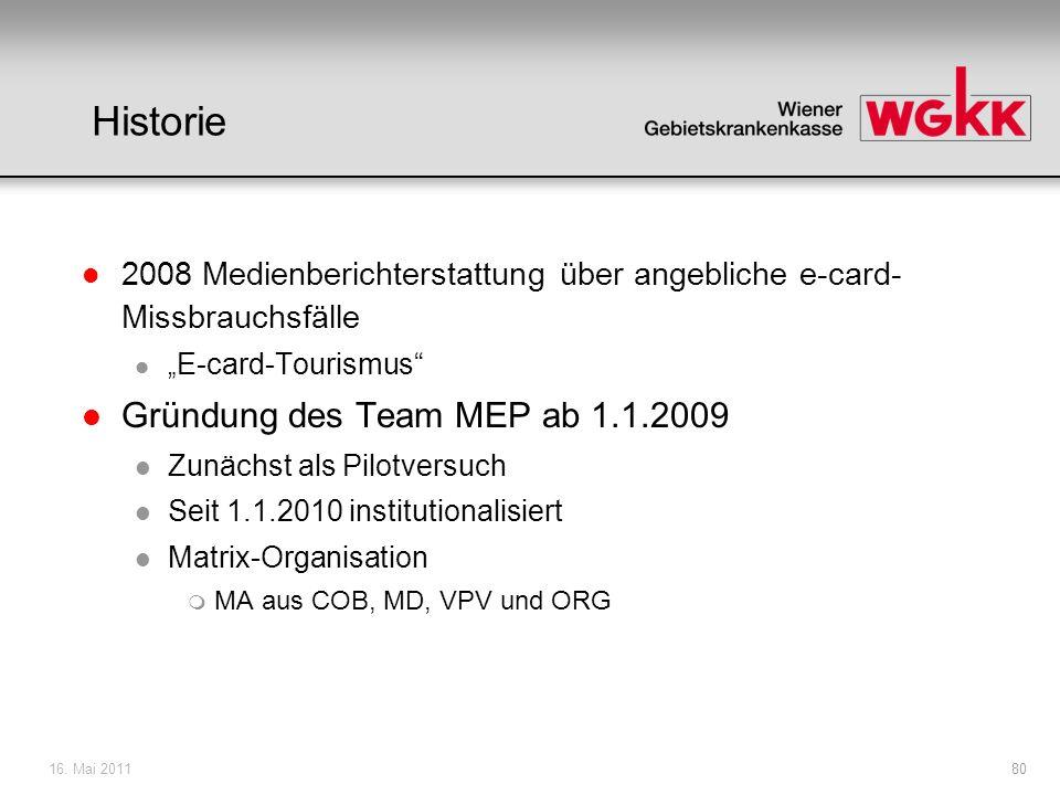 16. Mai 201180 Historie l 2008 Medienberichterstattung über angebliche e-card- Missbrauchsfälle l E-card-Tourismus l Gründung des Team MEP ab 1.1.2009