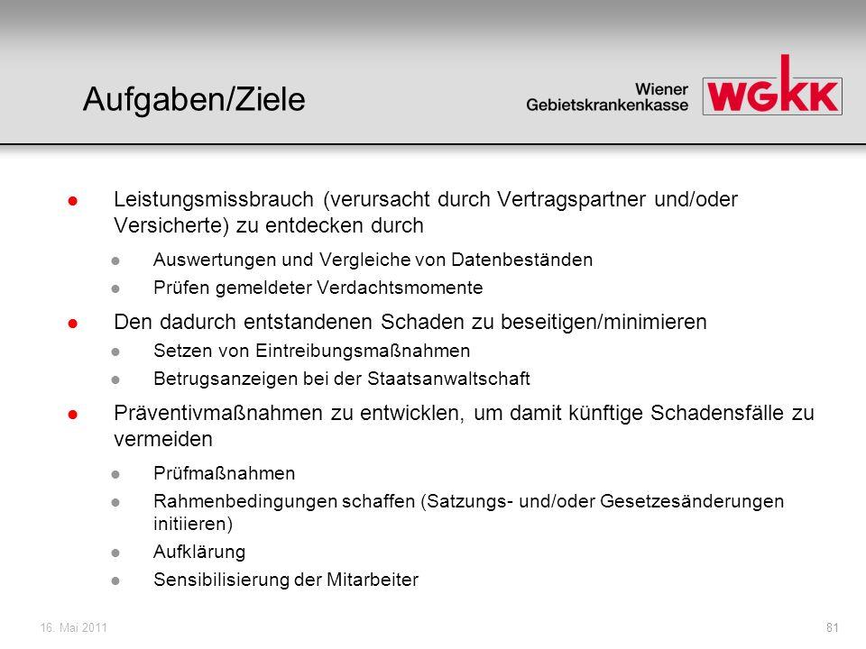 16. Mai 201181 Aufgaben/Ziele l Leistungsmissbrauch (verursacht durch Vertragspartner und/oder Versicherte) zu entdecken durch l Auswertungen und Verg