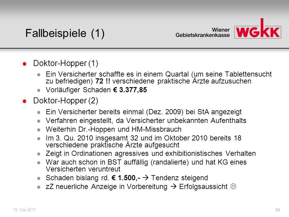 16. Mai 201184 Fallbeispiele (1) l Doktor-Hopper (1) l Ein Versicherter schaffte es in einem Quartal (um seine Tablettensucht zu befriedigen) 72 !! ve