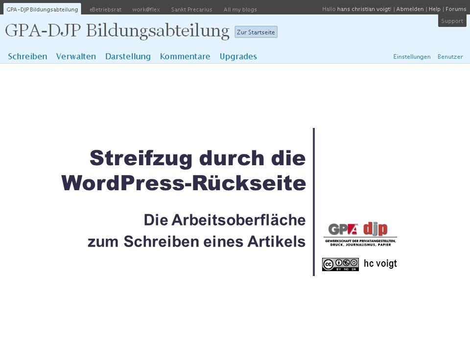 Die Arbeitsoberfläche zum Schreiben eines Artikels hc voigt Streifzug durch die WordPress-Rückseite
