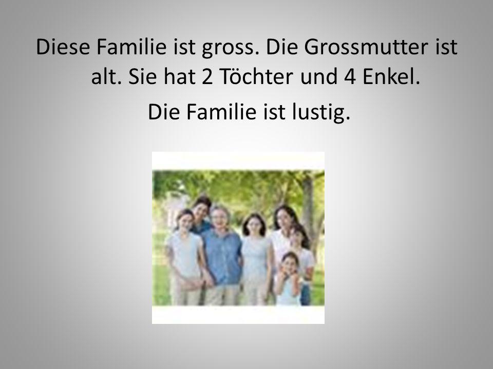 Diese Familie ist gross. Die Grossmutter ist alt. Sie hat 2 Töchter und 4 Enkel. Die Familie ist lustig.