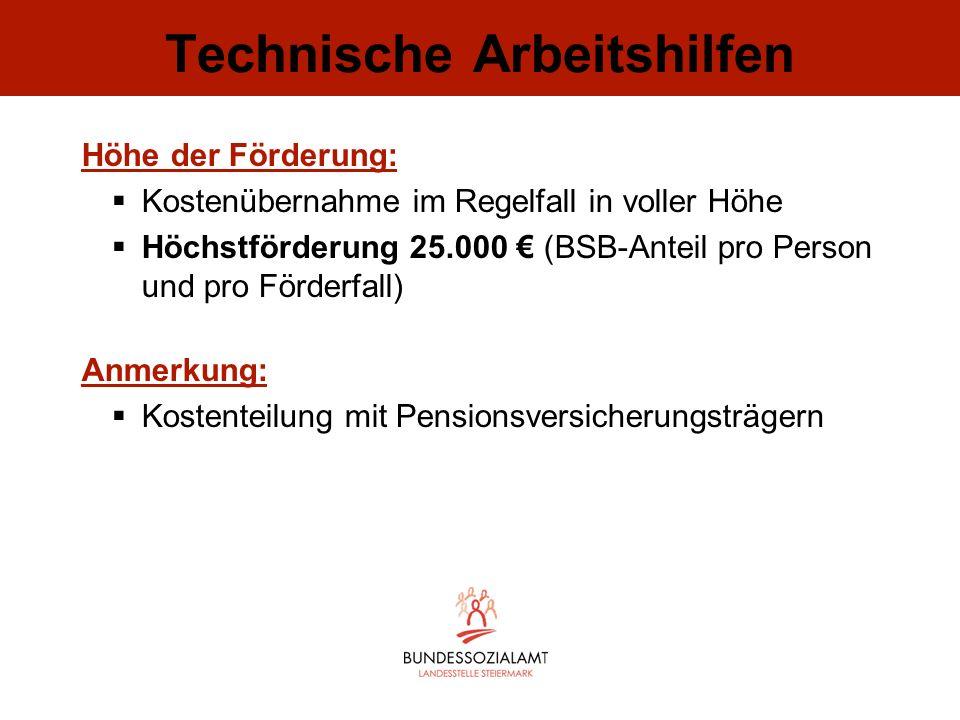 Technische Arbeitshilfen Höhe der Förderung: Kostenübernahme im Regelfall in voller Höhe Höchstförderung 25.000 (BSB-Anteil pro Person und pro Förderf