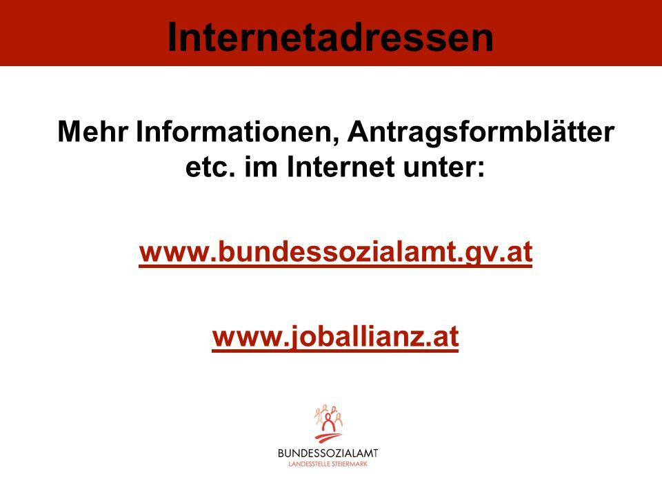 Internetadressen Mehr Informationen, Antragsformblätter etc. im Internet unter: www.bundessozialamt.gv.at www.joballianz.at