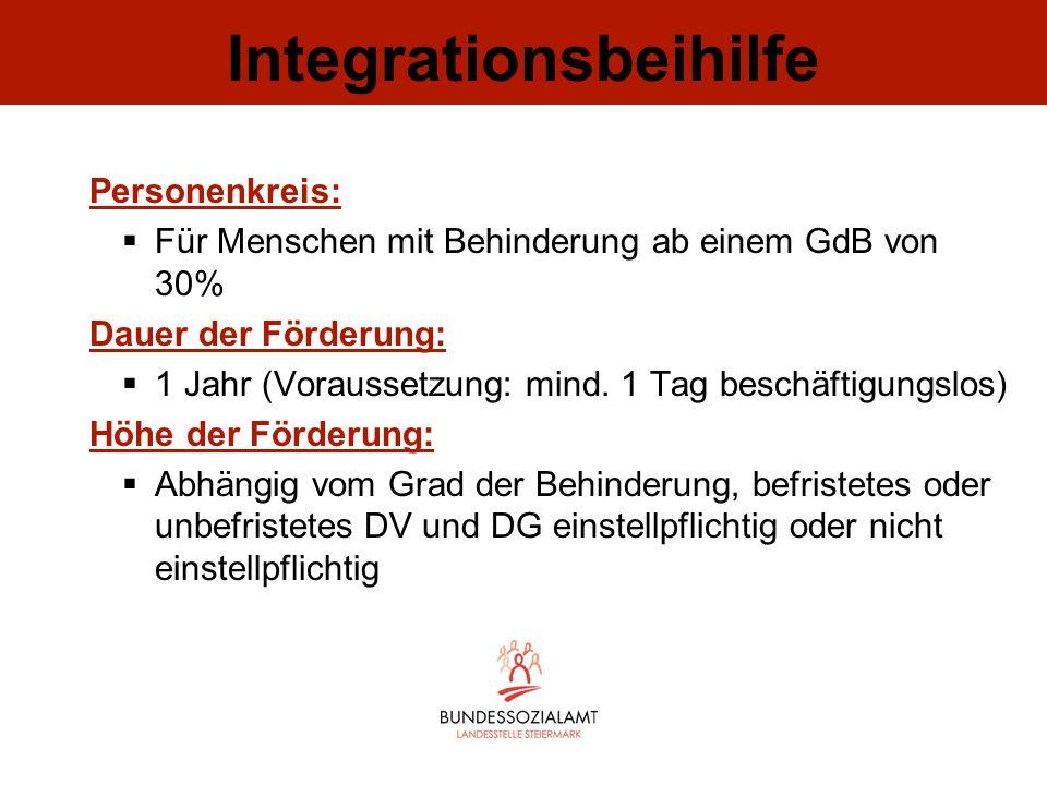 Integrationsbeihilfe Personenkreis: Für Menschen mit Behinderung ab einem GdB von 30% Dauer der Förderung: 1 Jahr (Voraussetzung: mind. 1 Tag beschäft