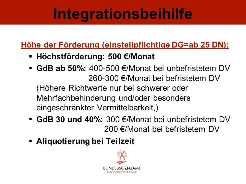 Integrationsbeihilfe Höhe der Förderung (einstellpflichtige DG=ab 25 DN): Höchstförderung: 500 /Monat GdB ab 50%: 400-500 /Monat bei unbefristetem DV