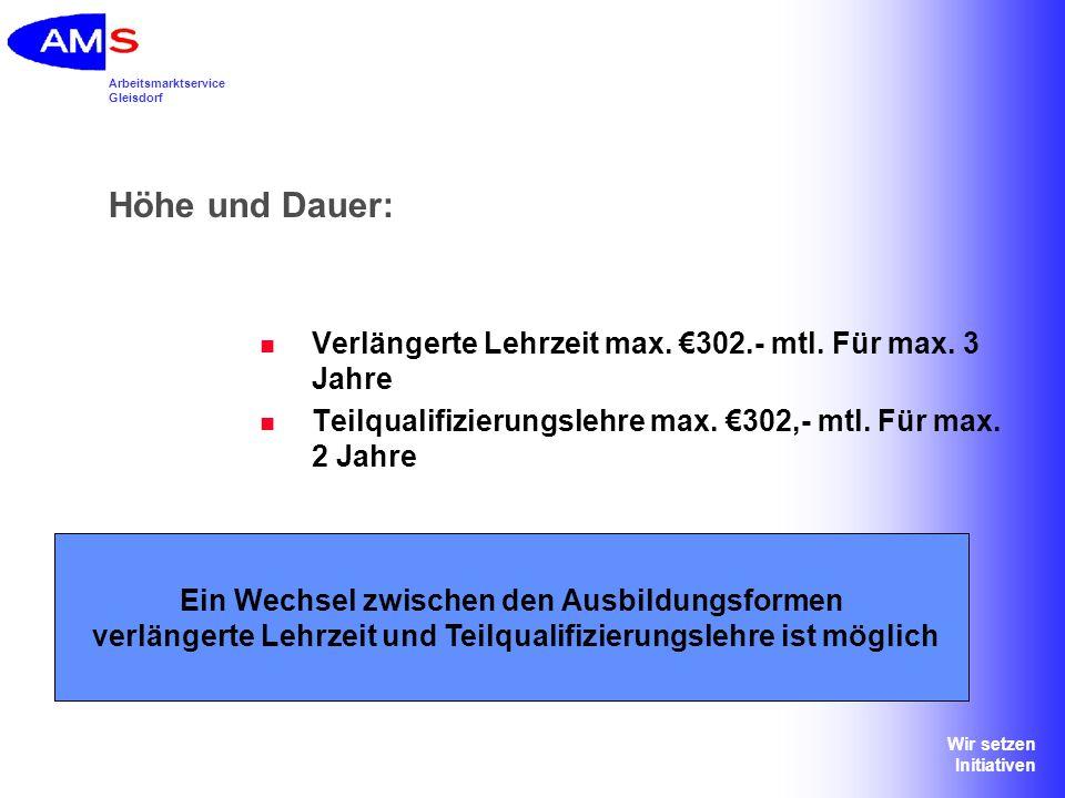 Arbeitsmarktservice Gleisdorf Wir setzen Initiativen Höhe und Dauer: Verlängerte Lehrzeit max. 302.- mtl. Für max. 3 Jahre Teilqualifizierungslehre ma