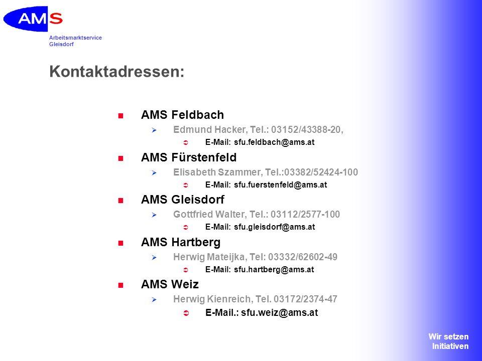 Arbeitsmarktservice Gleisdorf Wir setzen Initiativen Kontaktadressen: AMS Feldbach Edmund Hacker, Tel.: 03152/43388-20, E-Mail: sfu.feldbach@ams.at AM