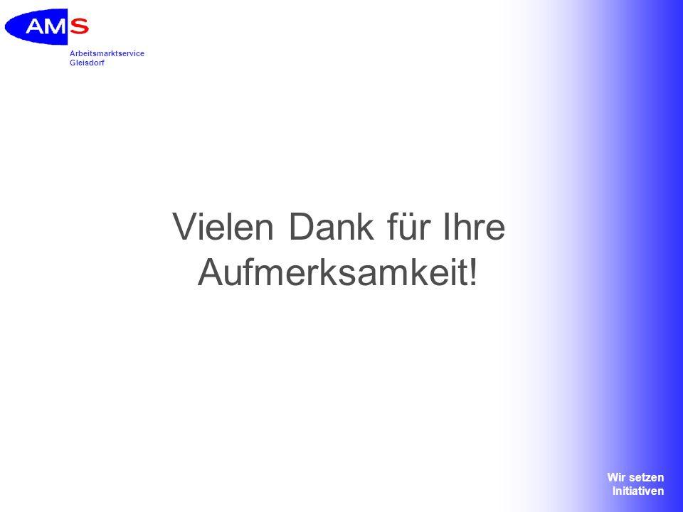 Arbeitsmarktservice Gleisdorf Wir setzen Initiativen Vielen Dank für Ihre Aufmerksamkeit!