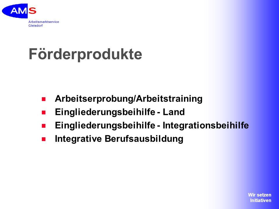 Arbeitsmarktservice Gleisdorf Wir setzen Initiativen Für alle Förderprodukte gilt: Rechtzeitige Kontaktaufnahme mit der zuständigen regionalen Geschäftstelle (Wohnsitzprinzip) = vor Beginn des Maßnahmeneinsatzes/Arbeitsaufnahme Betreuungsvereinbarung