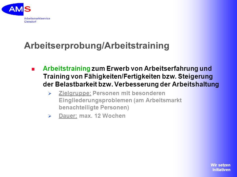 Arbeitsmarktservice Gleisdorf Wir setzen Initiativen Arbeitserprobung/Arbeitstraining Arbeitstraining zum Erwerb von Arbeitserfahrung und Training von
