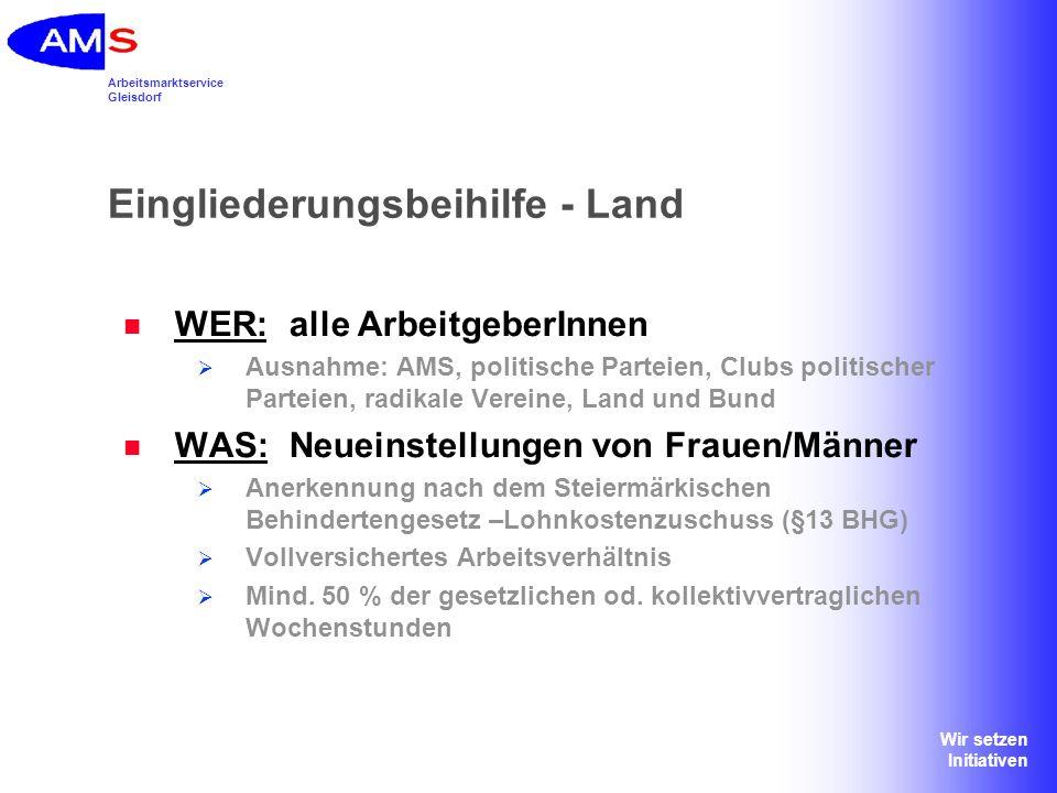 Arbeitsmarktservice Gleisdorf Wir setzen Initiativen Eingliederungsbeihilfe - Land WIE VIEL: genaue Höhe wird im Einzelfall festgelegt Obergrenze: monatliches Bruttoentgelt, maximal: Euro 1.100,-- auf Basis Vollzeit (ohne Zulagen, Diäten, SZ etc.) plus 50 % der LNK (Lohnnebenkosten) Pauschale= Bemessungsgrundlage und davon maximal 40 % = 660.-- WIE LANGE: 9 Monate Weiterförderung durch das Land Steiermark möglich (27 Monate)