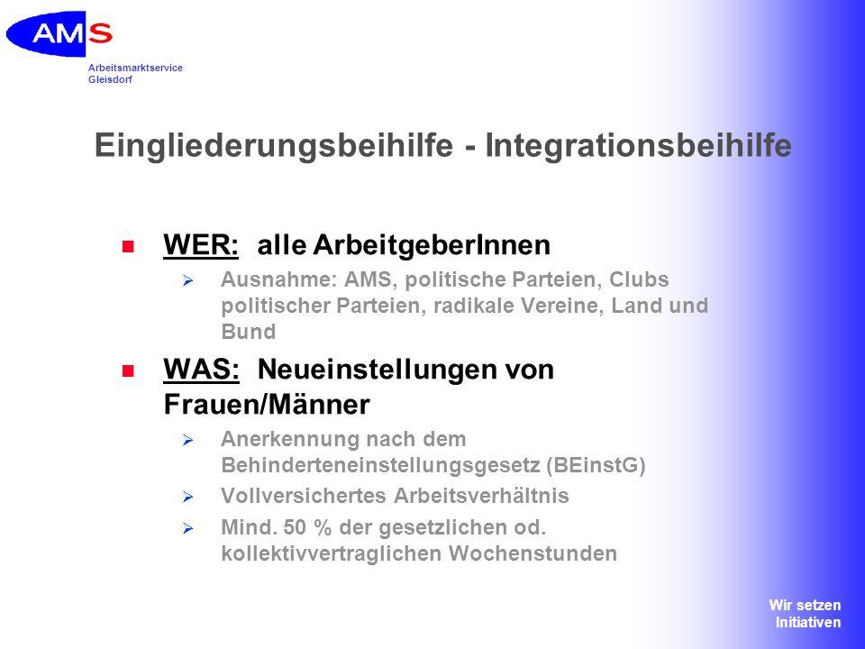 Arbeitsmarktservice Gleisdorf Wir setzen Initiativen Eingliederungsbeihilfe - Integrationsbeihilfe WER:alle ArbeitgeberInnen Ausnahme: AMS, politische