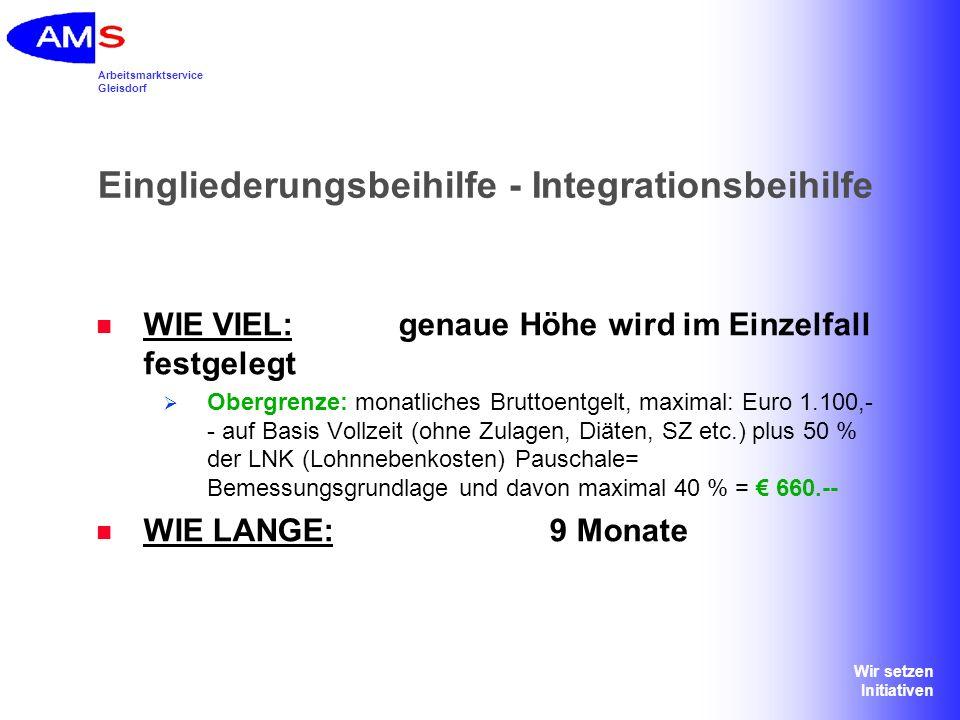 Arbeitsmarktservice Gleisdorf Wir setzen Initiativen Eingliederungsbeihilfe - Integrationsbeihilfe WIE VIEL:genaue Höhe wird im Einzelfall festgelegt