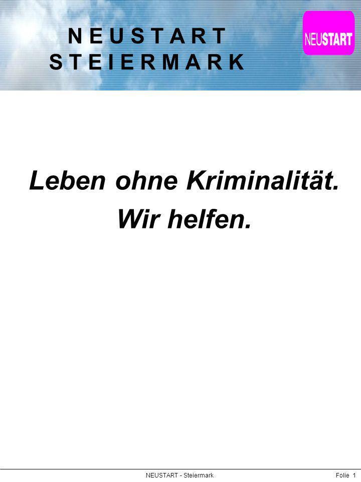 NEUSTART - SteiermarkFolie 2 Vision Wir sind eine Organisation, die der Gesellschaft Hilfen und Lösungen zur Bewältigung von Konflikten und damit Schutz vor Kriminalität und deren Folgen bietet.
