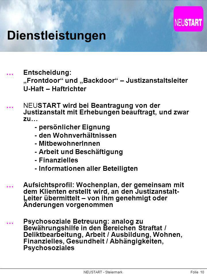 NEUSTART - SteiermarkFolie 10 Dienstleistungen Entscheidung: Frontdoor und Backdoor – Justizanstaltsleiter U-Haft – Haftrichter NEUSTART wird bei Bean