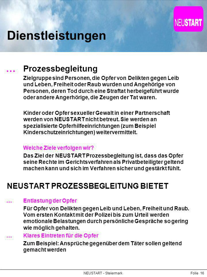 NEUSTART - SteiermarkFolie 16 Dienstleistungen Prozessbegleitung Zielgruppe sind Personen, die Opfer von Delikten gegen Leib und Leben, Freiheit oder