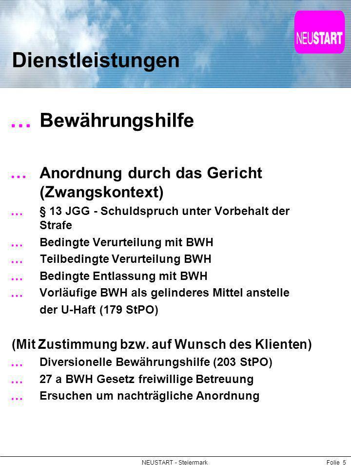 NEUSTART - SteiermarkFolie 5 Dienstleistungen Bewährungshilfe Anordnung durch das Gericht (Zwangskontext) § 13 JGG - Schuldspruch unter Vorbehalt der
