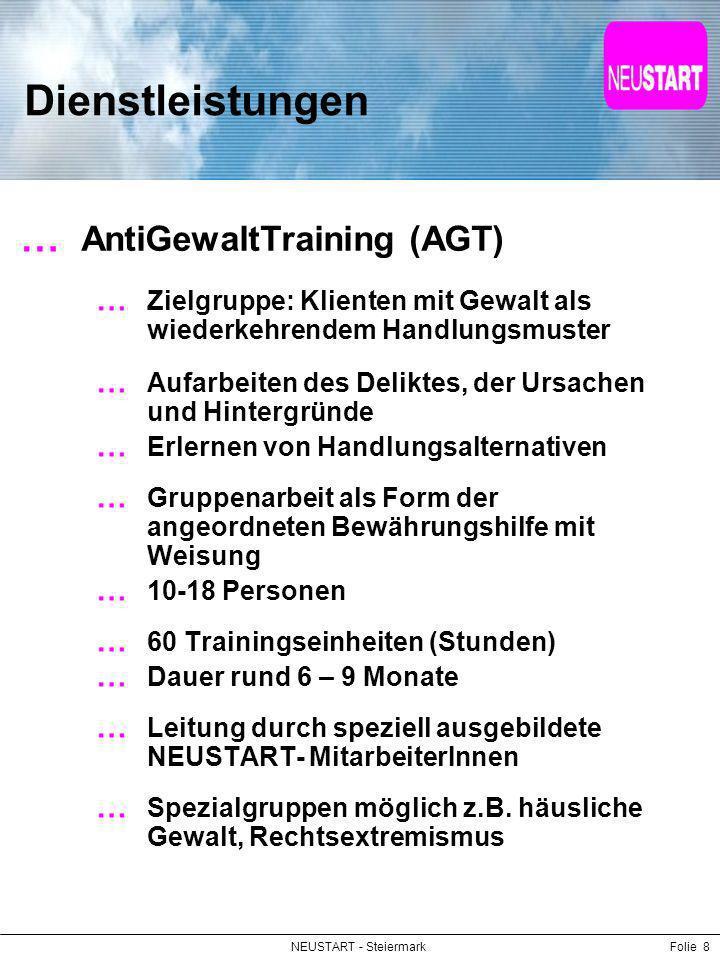 NEUSTART - SteiermarkFolie 8 Dienstleistungen AntiGewaltTraining (AGT) Zielgruppe: Klienten mit Gewalt als wiederkehrendem Handlungsmuster Aufarbeiten