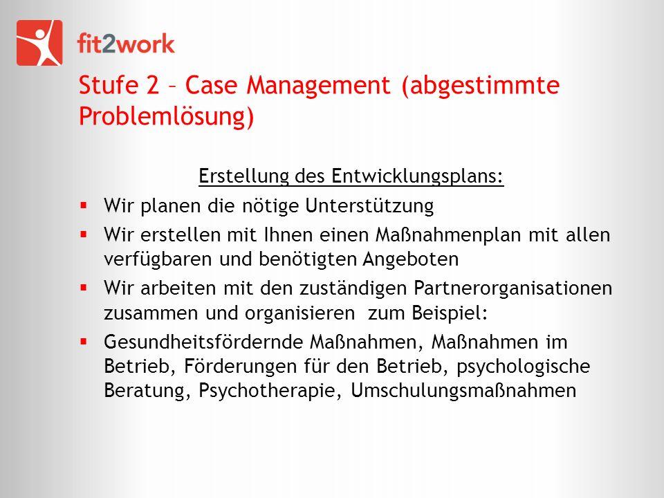 Stufe 2 – Case Management (abgestimmte Problemlösung) Erstellung des Entwicklungsplans: Wir planen die nötige Unterstützung Wir erstellen mit Ihnen ei