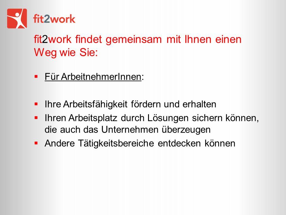 fit2work findet gemeinsam mit Ihnen einen Weg wie Sie: Für ArbeitnehmerInnen: Ihre Arbeitsfähigkeit fördern und erhalten Ihren Arbeitsplatz durch Lösungen sichern können, die auch das Unternehmen überzeugen Andere Tätigkeitsbereiche entdecken können