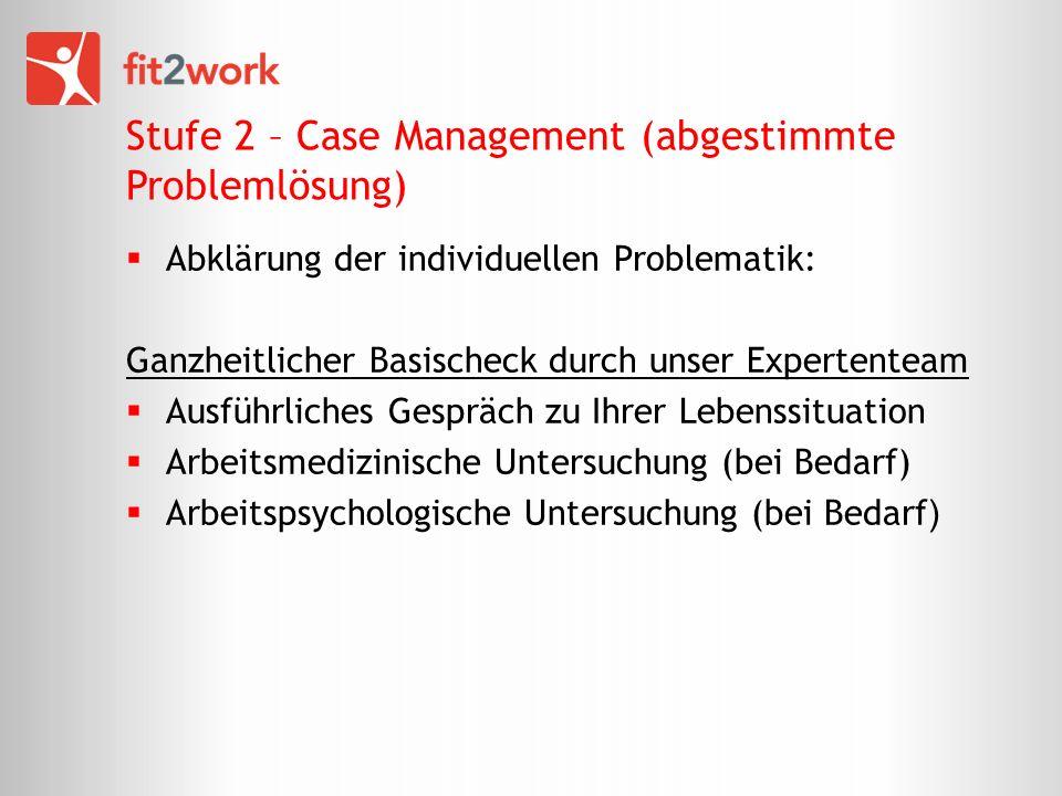 Stufe 2 – Case Management (abgestimmte Problemlösung) Abklärung der individuellen Problematik: Ganzheitlicher Basischeck durch unser Expertenteam Ausführliches Gespräch zu Ihrer Lebenssituation Arbeitsmedizinische Untersuchung (bei Bedarf) Arbeitspsychologische Untersuchung (bei Bedarf )