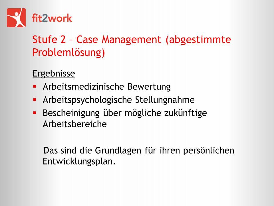 Stufe 2 – Case Management (abgestimmte Problemlösung) Ergebnisse Arbeitsmedizinische Bewertung Arbeitspsychologische Stellungnahme Bescheinigung über mögliche zukünftige Arbeitsbereiche Das sind die Grundlagen für ihren persönlichen Entwicklungsplan.