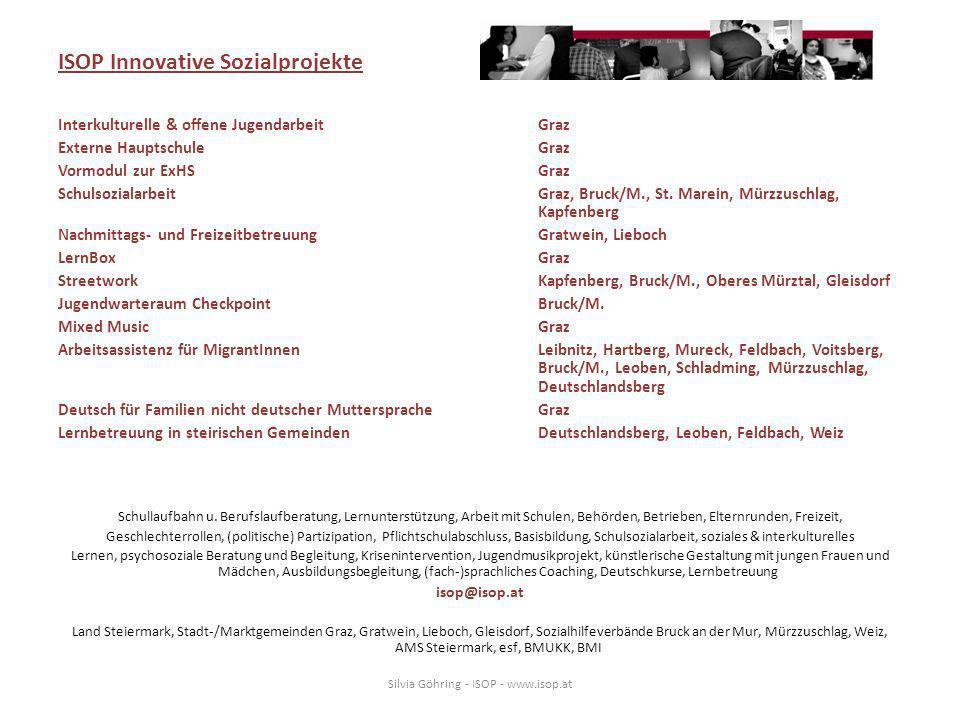 ISOP Innovative Sozialprojekte Interkulturelle & offene Jugendarbeit Graz Externe HauptschuleGraz Vormodul zur ExHSGraz SchulsozialarbeitGraz, Bruck/M., St.