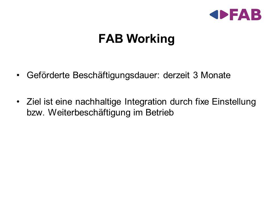 Geförderte Beschäftigungsdauer: derzeit 3 Monate Ziel ist eine nachhaltige Integration durch fixe Einstellung bzw. Weiterbeschäftigung im Betrieb FAB